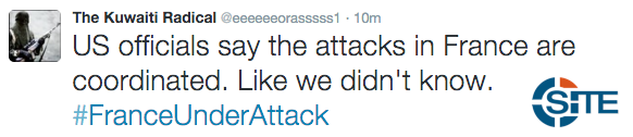 Jihadists on Twitter Celebrate Attacks in Paris Speculate Who Planned them2