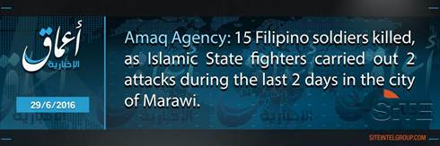 IS Amaq Reports 15 Philippine Soldiers Killed in Two Days in Marawi Jihadist Gives Details