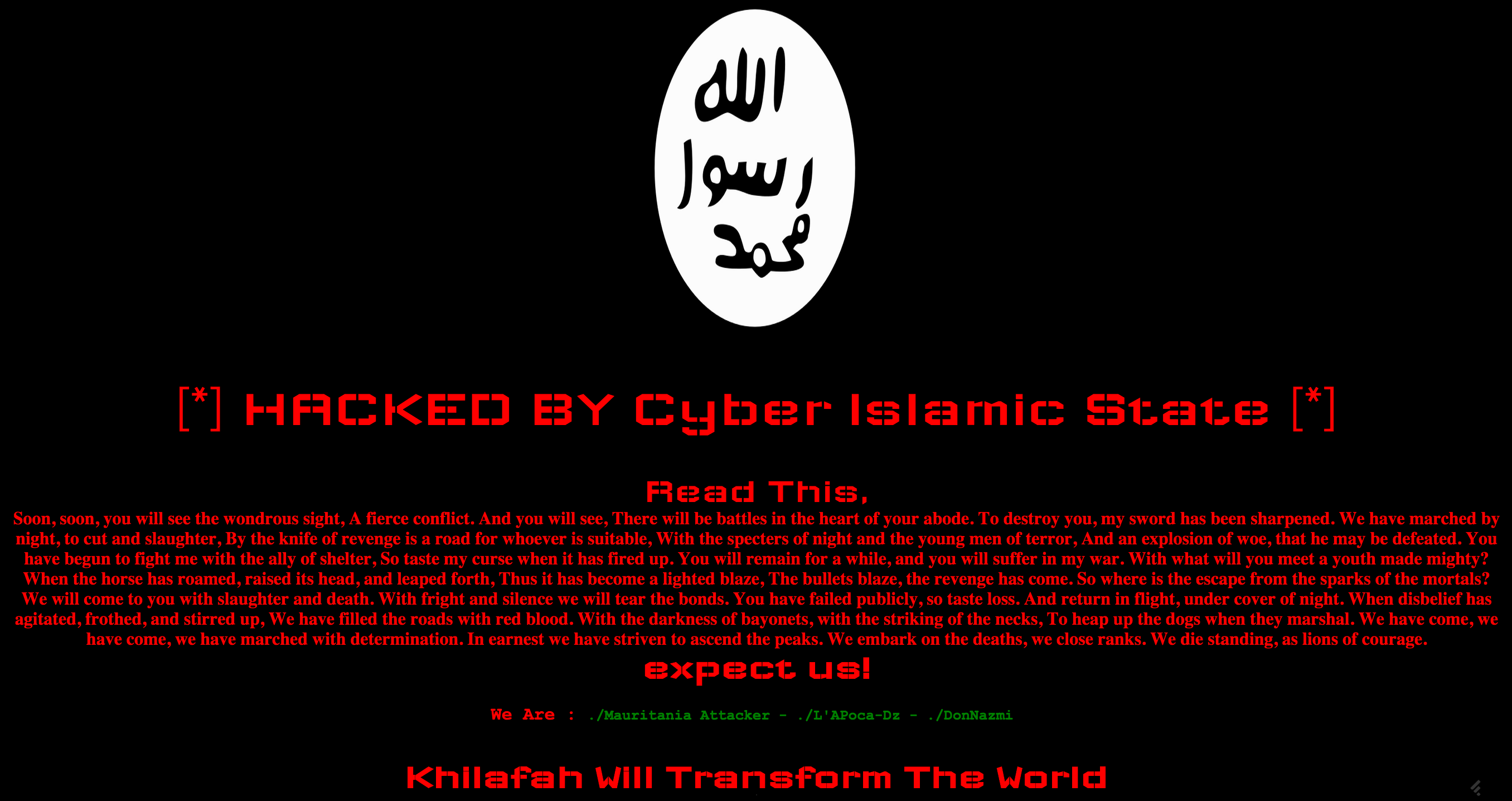 cyber islamic state hacked page
