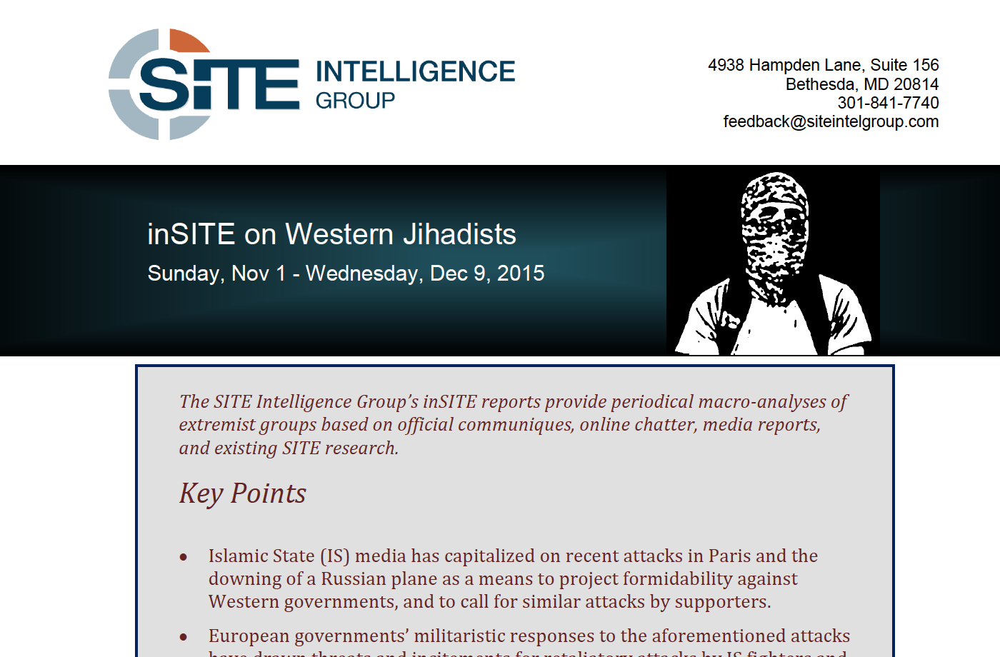 inSITE on Western Jihadists Sunday, Nov 1 - Wednesday, Dec 9, 2015