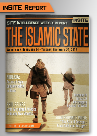 Weekly inSITE on the Islamic State for November 14-20, 2018