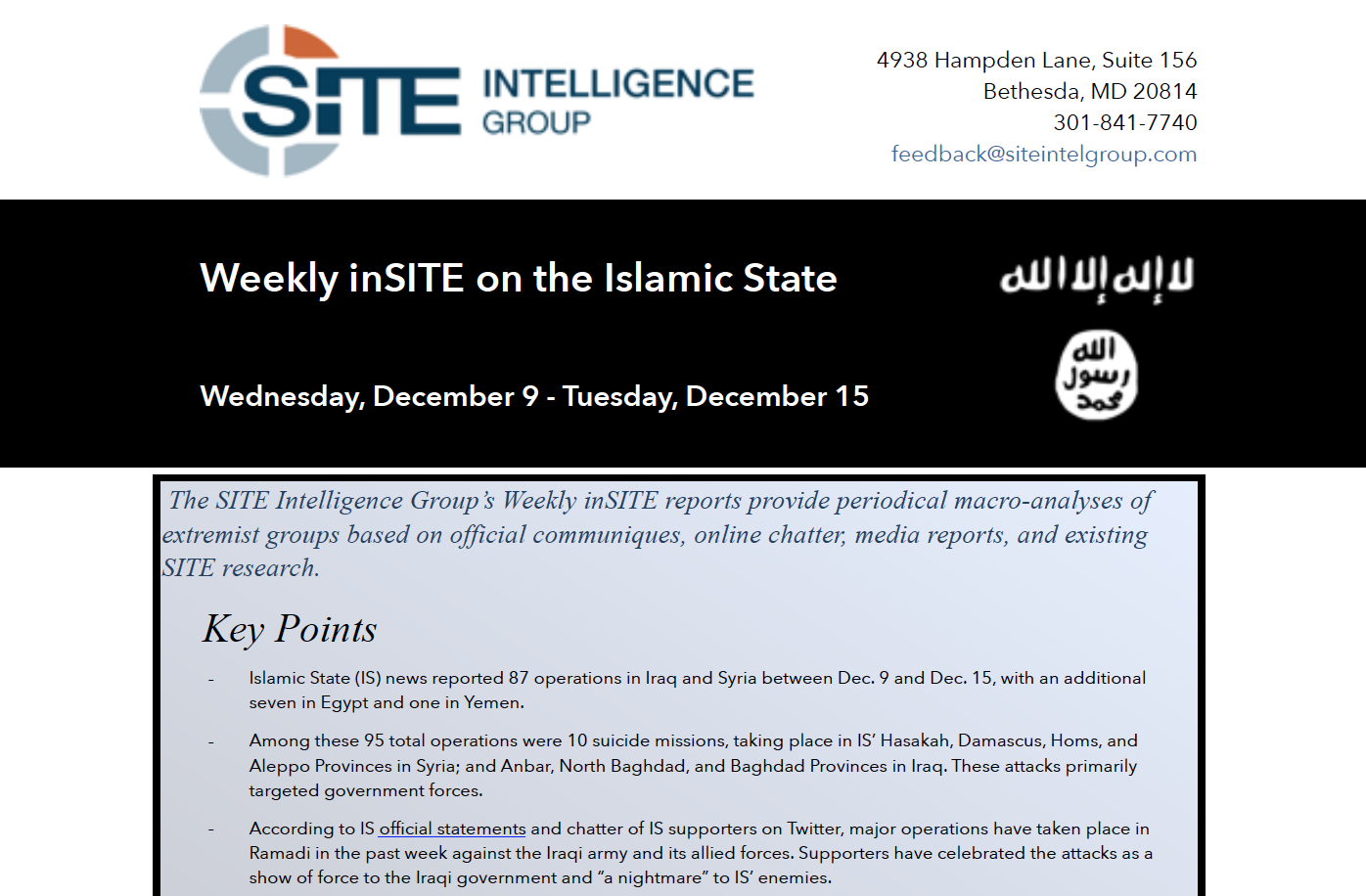 Weekly inSITE on ISIS, Dec 9 - Dec 15