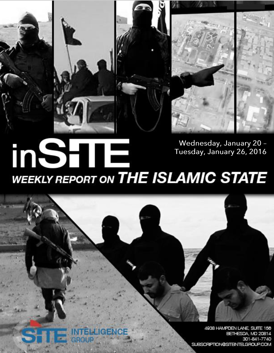 Weekly inSITE on the Islamic State, Jan 20 - 26, 2016