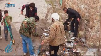 "New Jihadi Media Group ""Himam News Agency"" Shows al-Nusra Front Cleaning Trash in Idlib"