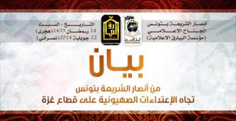 Ansar al-Shariah in Tunisia Calls for Support to Palestinians in Gaza Amidst Israeli Strikes