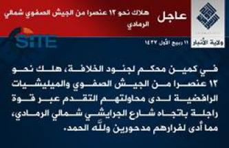 IS Claims Killing Nearly 23 Iraqi Forces in Bombings, Projectile Strikes in Ramadi During Enemy Advance