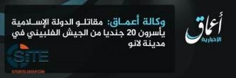 IS-Linked 'Amaq News Reports IS Fighters Capturing 20 Philippine Soldiers in Lanao