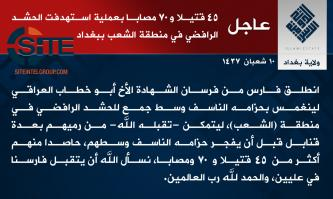 IS Claims Killing 45, Wounding 70 in Suicide Op in Baghdad's Shaab District