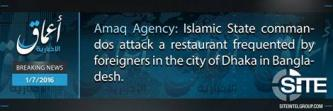 "IS' 'Amaq Reports That IS Fighters Killed ""More than 20"" in Dhaka Restaurant"