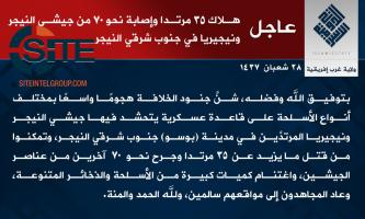 IS' West Africa Province Claims Killing 35 Nigerien and Nigerian Soldiers in Attack on Base in Bosso