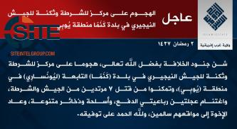 IS' West Africa Province Claims Killing 7 in Attack in Yobe (Nigeria)