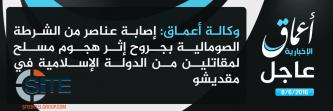 IS' 'Amaq News Reports Attack on Somali Police in Mogadishu