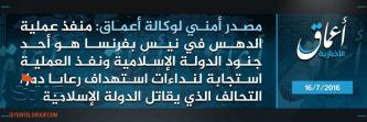 "IS' 'Amaq Says Nice Attack Carried Out by IS ""Soldier"""