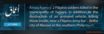 IS' 'Amaq Reports Killing of at Least Two Philippine Soldiers in Marawi