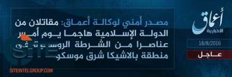 'Amaq Reports 2 IS Fighters Responsible for Attack on Police Near Moscow