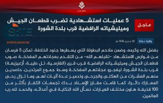 IS Claims Suicide Bombings by Five Fighters on Iraqi Forces, Militiamen Near Shora