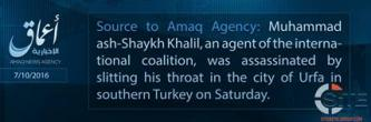 'Amaq Reports Assassination of Agent of the International Coalition in Turkey
