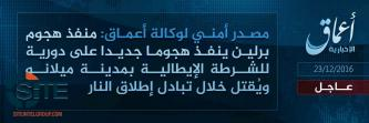 IS' 'Amaq News Agency Acknowledges Death of Berlin Attacker in Milan
