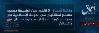 'Amaq Reports IS Fighters Killing 5 Shi'ites in Shooting in Quetta