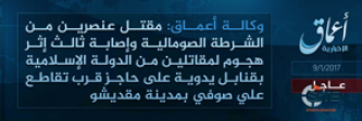 'Amaq Reports IS Fighters Killing and Wounding Police in the Somali Capital