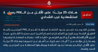 IS Claims Suicide Bombing by French Fighter Killing 25 PKK in Shaddadi
