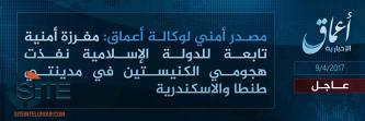'Amaq Reports IS' Responsibility for Church Attacks in Egyptian Cities of Alexandria and Tanta