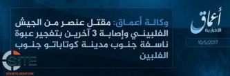 "IS' 'Amaq Reports Killing One, Wounding Three with ""Explosive Device"" South of Cotabato, Philippines"