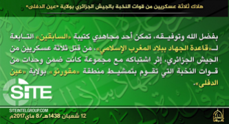 AQIM Reports Three Special Forces Soldiers Killed in Aïn Defla, Algeria