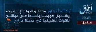 'Amaq Reports IS Fighters Engaged in Clash in Marawi, Philippines