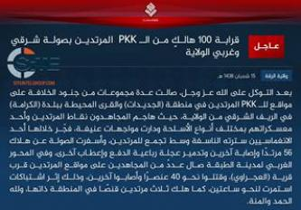 "IS Claims Killing ""Nearly 100"" from PKK Forces in Clashes across its Raqqah Province"