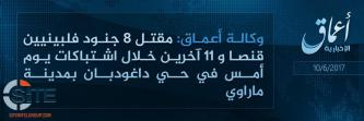 IS' 'Amaq Reports Killing 19 Philippine Soldiers, Damaging Military Vehicle in Clashes in Marawi