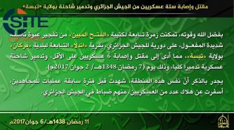 AQIM Claims Killing and Wounding Six Algerian Soldiers in IED Blast in Tébessa