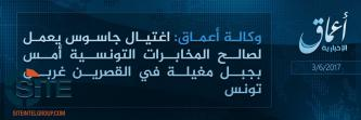 'Amaq Reports IS Fighters Killing Spy in Tunisia's Kasserine Governorate