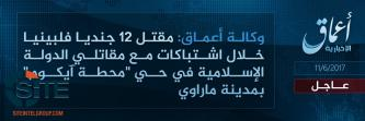 'Amaq Reports IS Fighters Killing 17 Philippine Soldiers in Ongoing Clashes in Marawi