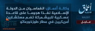 IS Claims Through 'Amaq a Suicide Raid on Tuz Khurmatu Airbase, Notes Presence of American Advisors