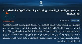 IS Claims Killing 2 American Soldiers in Attack Repulsing U.S.-Afghan Military Advance in Nangarhar