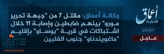 'Amaq Reports IS Killing 7 MILF Fighters in Maguindanao, 8 Philippine Soldiers in Marawi