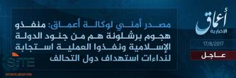 'Amaq Reports IS Responsible for Barcelona Attack