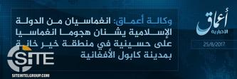 IS Claims Through 'Amaq a Suicide Attack at Shi'a Mosque in Kabul