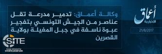 'Amaq Reports IS Fighters Destroyed Tunisian Military Vehicle in Kasserine
