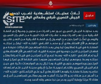 IS Claims Halting Syrian Regime Offensive in Deir al-Zour, Killing at Least 40 in Clashes, 3 Suicide Bombings