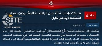 IS' Khorasan Province Claims Killing, Wounding 70 in Suicide Bombing at Shi'ite Mosque in Kabul