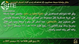 AQIM's Uqba' Bin Nafi Battalion Claims 7 Casualties Among Tunisian Soldiers in Bombing