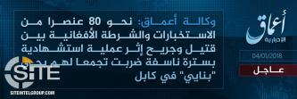 'Amaq Reports IS Suicide Bombing in Kabul Killing, Wounding 80 Police and Intel Agents