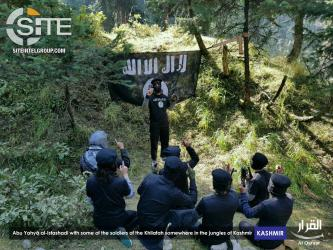 Leader of IS-Pledged Kashmiri Group Photographed with Fighters in Jungle