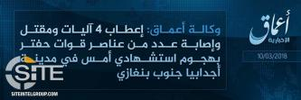 'Amaq Reports IS Suicide Bombing on Libyan Forces South of Benghazi