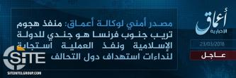 "IS' 'Amaq Reports Trèbes Attacker a ""Soldier"" of the Group"