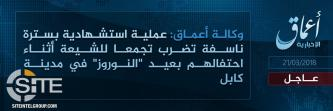 'Amaq Reports IS Suicide Bombing on Shi'ites Celebrating Persian New Year in Kabul