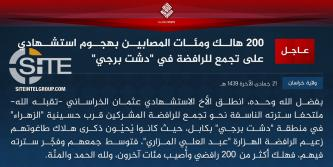 IS' Khorasan Province Claims Killing 200+ Shi'ites in Suicide Bombing in Hazara Majority Neighborhood of Kabul