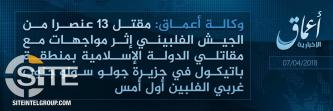 IS' 'Amaq Reports 13 Philippine Army Soldiers Killed in Clashes in Sulu